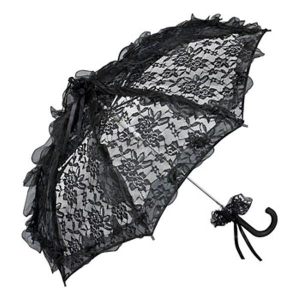 romantischer brautschirm hochzeitsschirm mit schwarzer spitze von regenschirme. Black Bedroom Furniture Sets. Home Design Ideas